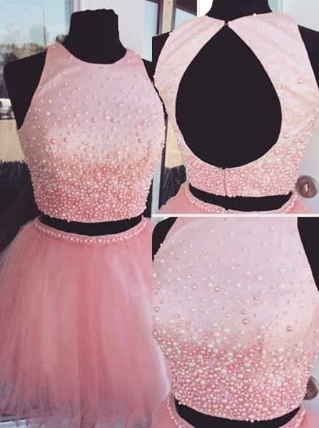 New-arrival Two-piece Short Pink Backless Homecoming Dress with Pearl