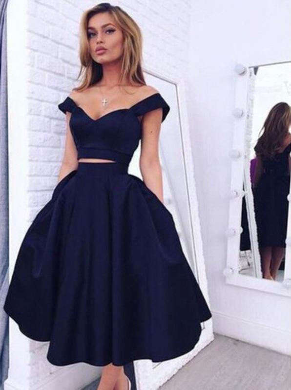 Два куска плеча середины икры темно-синий тафты Пром платье Homecoming