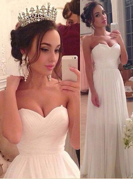 A-line Sweetheart Floor-length Ruched Chiffon White Wedding Dress