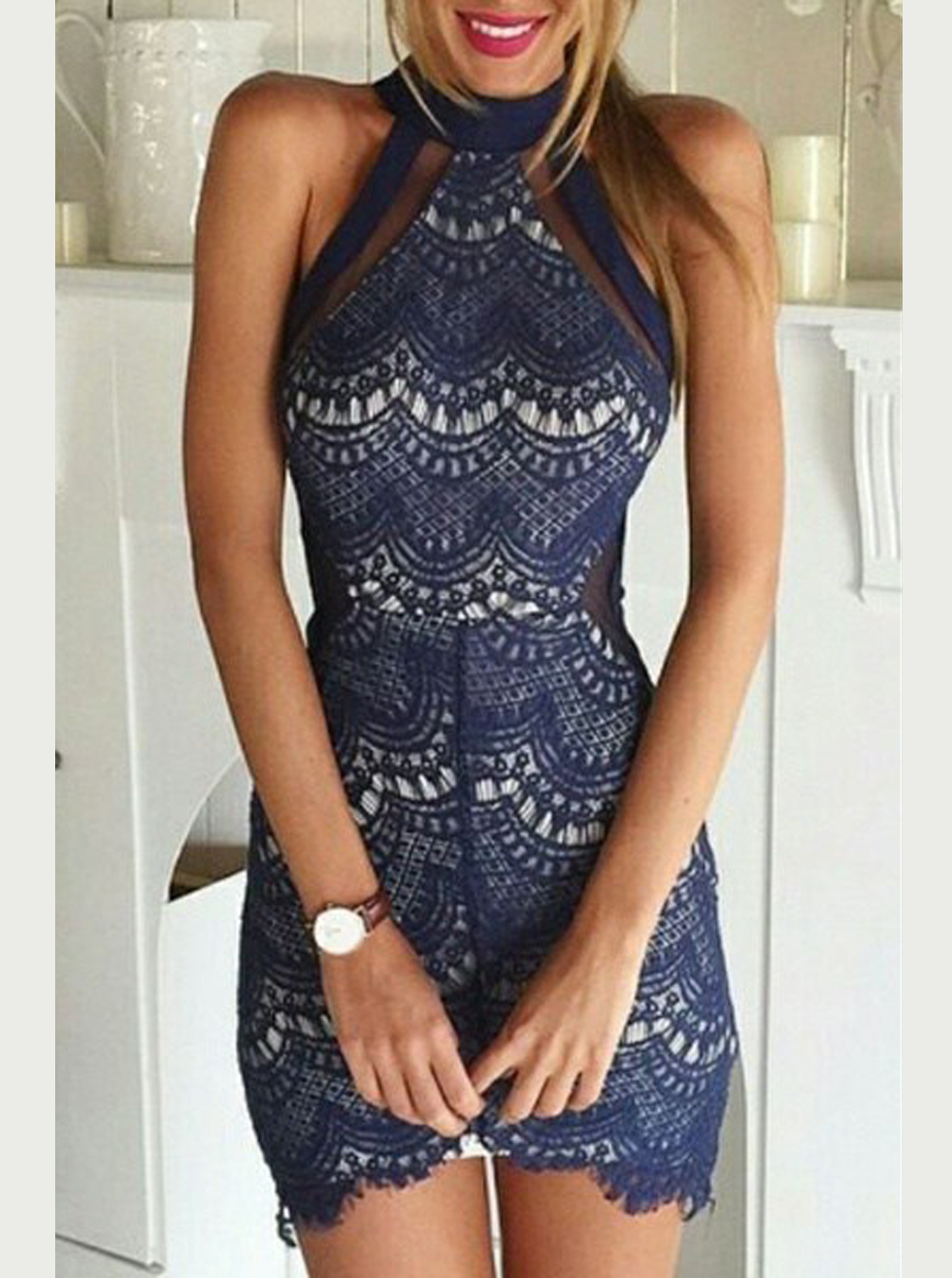 Sexy Sheath High Neck Sleeveless Short Navy Lace Cocktail Dress, Navy blue