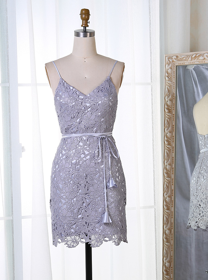 Bodycon Spaghetti Straps Short Grey Lace Homecoming Dress with Sash