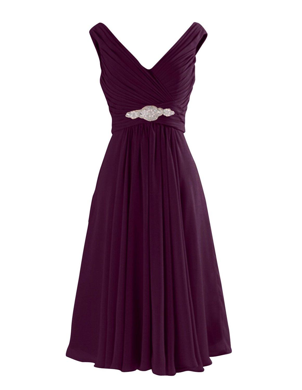 Simple-dress V Neck A-Line Knee Length Chiffon Bridesmaid Dresses CHBD-81314
