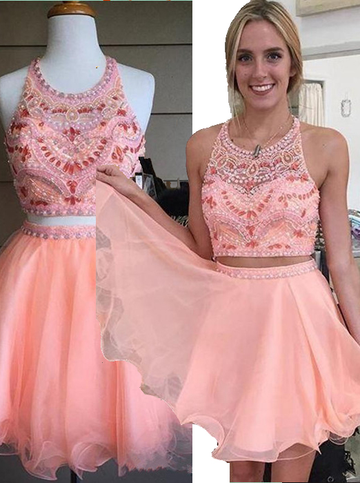 Two Piece A-line Halter Knee-Length Chiffon Beaded Backless Pink Party Homecoming Dress фото