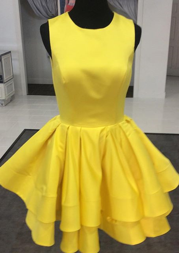 A-line Jewel Short Satin Ruched Sleeveless Yellow Homecoming Dress thumbnail