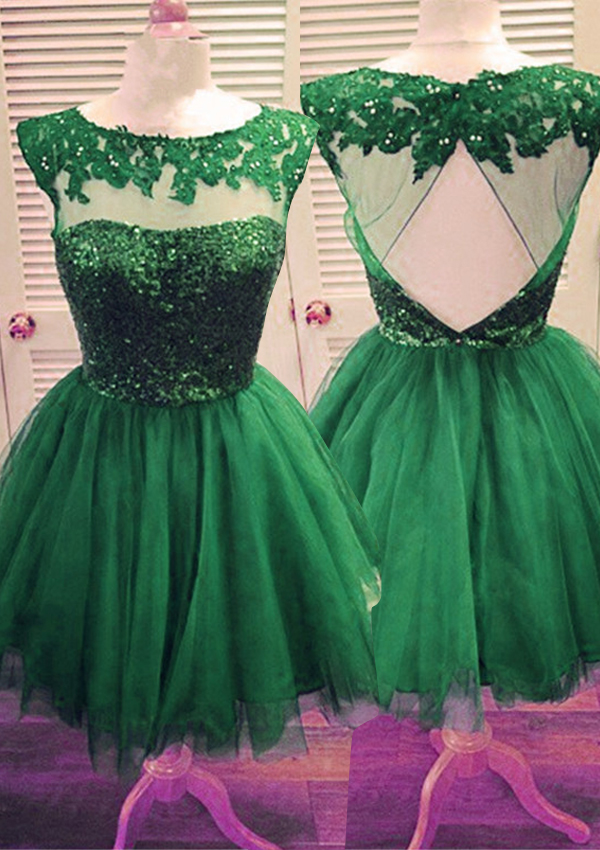 A-line Scoop Short Tulle Lace Green Homecoming Dress with Appliques Beaded фото
