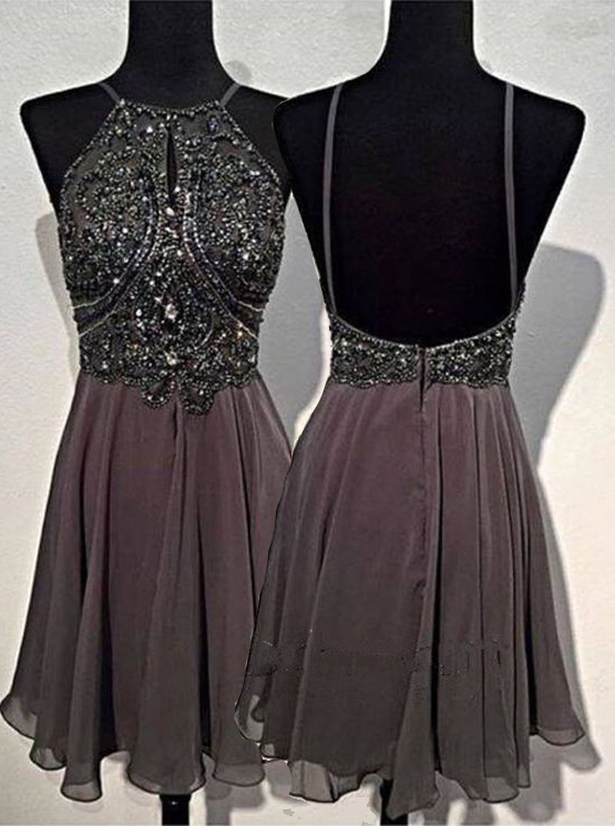 A-line Round Neck Chiffon Beaded Short Grey Backless Prom Homecoming Dress фото