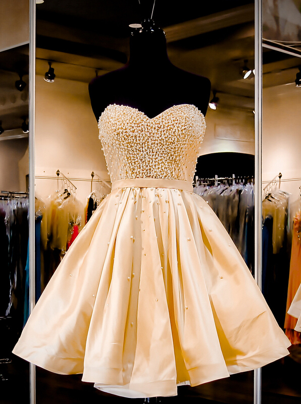 Gorgeous Strapless A-line Knee Length Gold Homecoming Dress with Pearls thumbnail