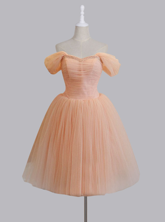 Vintage Style Off-the-shoulder A-line Short Pink Homecoming Dress with Lace-Up thumbnail