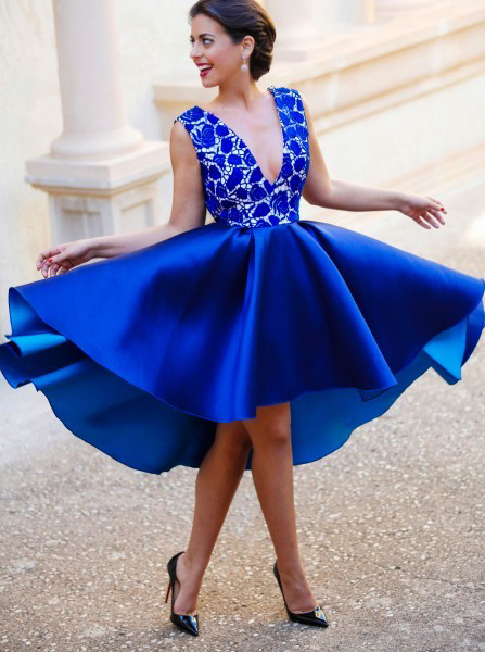 A-Line V-Neck Backless Short Royal Blue Satin Homecoming Dress with Lace