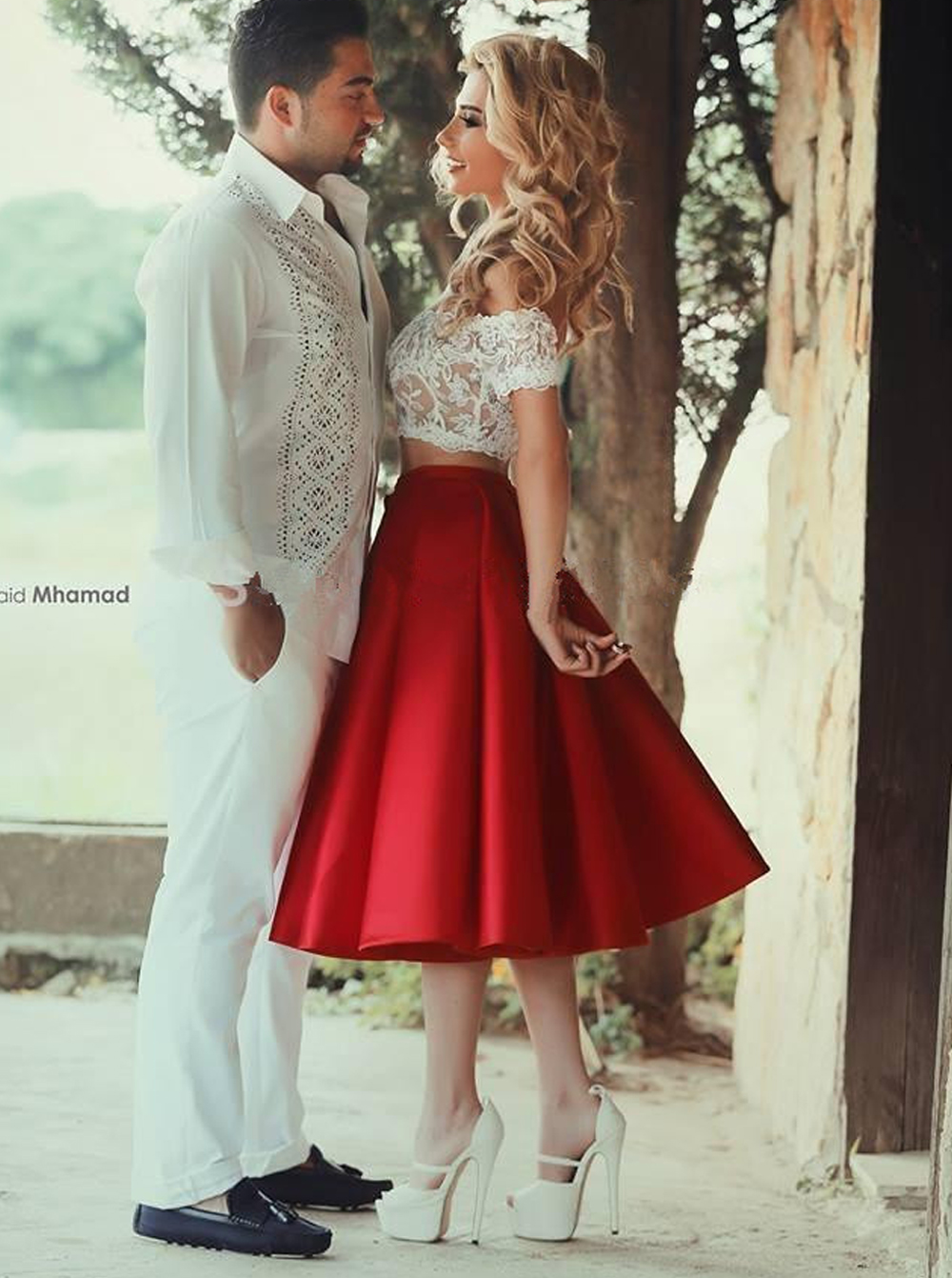 Two Piece Off The Shoulder Mid Calf Red Satin Homecoming Dress With Lace
