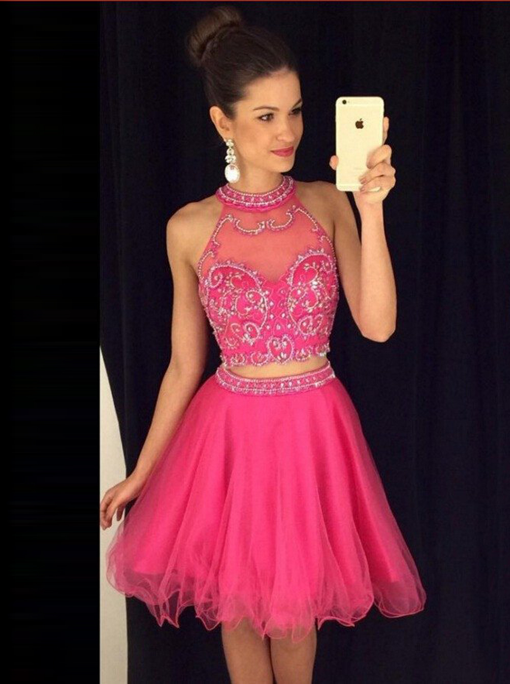 Two Piece A-line Halter Knee-Length Tulle Beaded Pink Prom Homecoming Dress фото