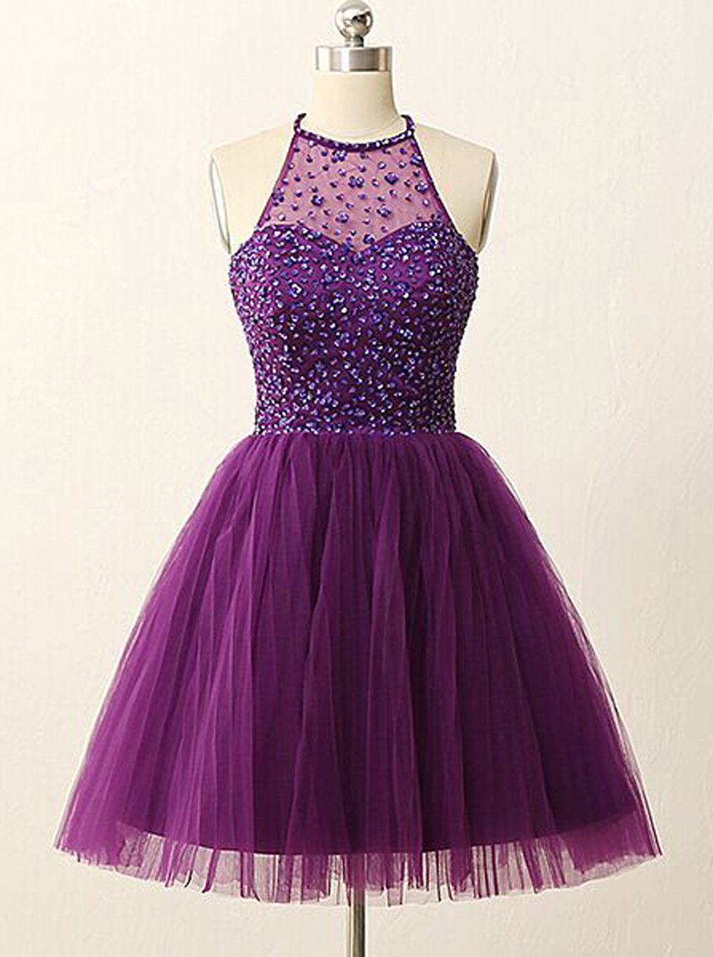 A-line Halter Knee-Length Tulle Backless Purple Prom Homecoming Dress with Rhinestones thumbnail