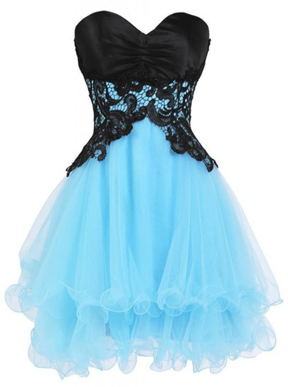A-line Sweetheart Tulle Lace-up Short Blue Homecoming Dress with Black Appliques thumbnail