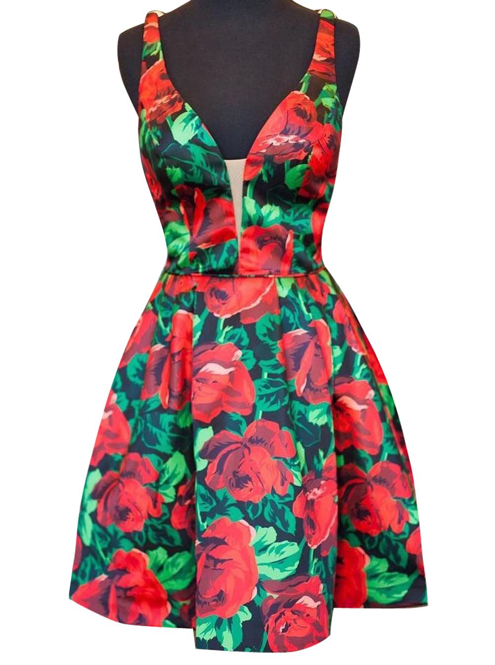 Simple-dress / A-line Deep V-neck Short Satin Sleeveless Flowers Print Backless Homecoming Dress