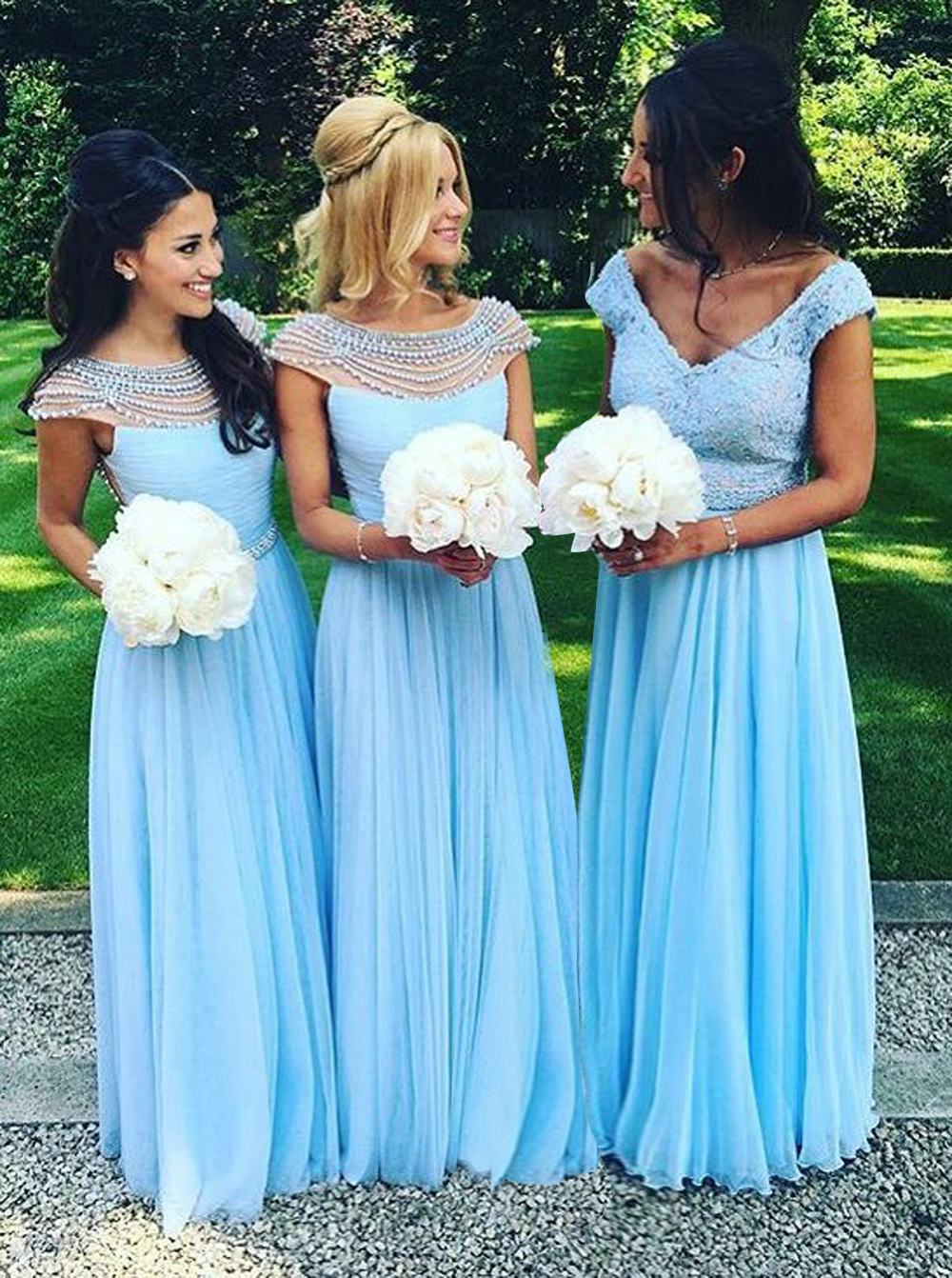 A-Line Boat Neck Floor-Length Cap Sleeves Blue Chiffon Bridesmaid Dress with Pearls фото