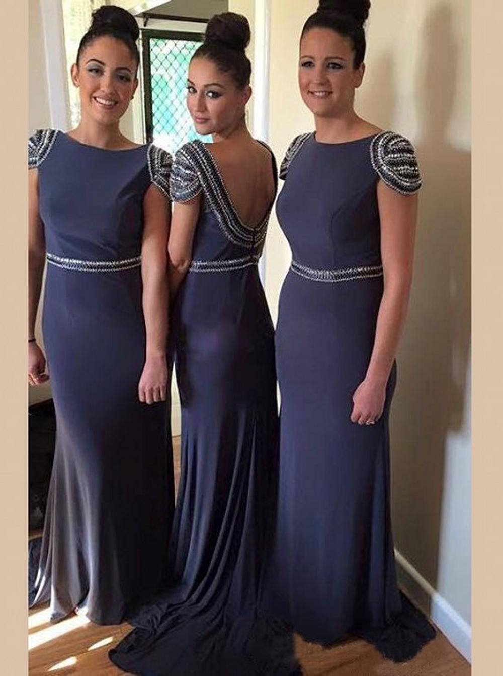 Awesome Sheath Bateau Open Back Court Train Bridesmaid Dress with Pearls фото