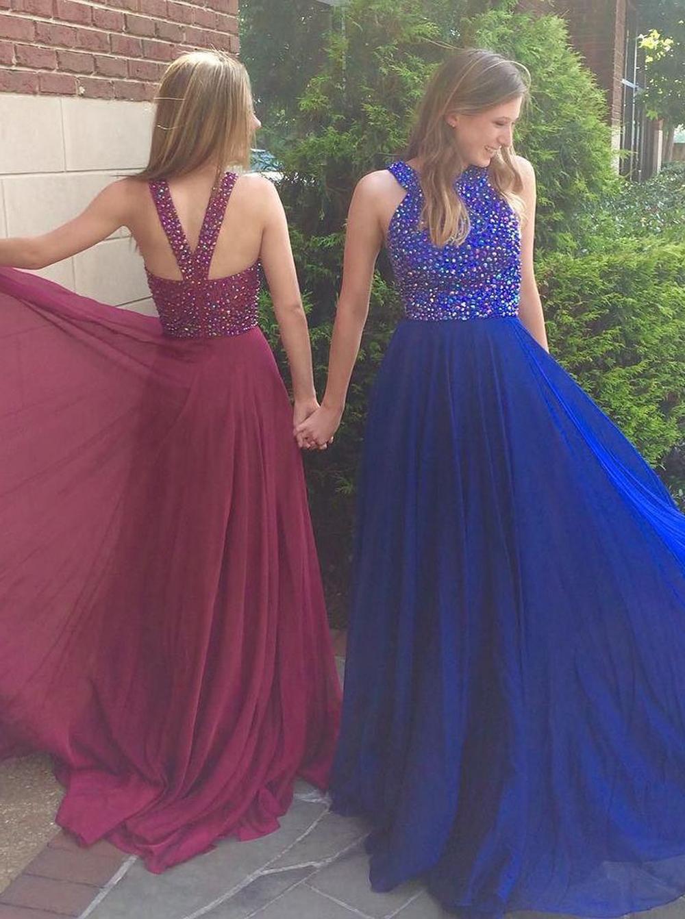 Elegant Jewel Sweep Train Royal Blue Prom Dress with Beading фото