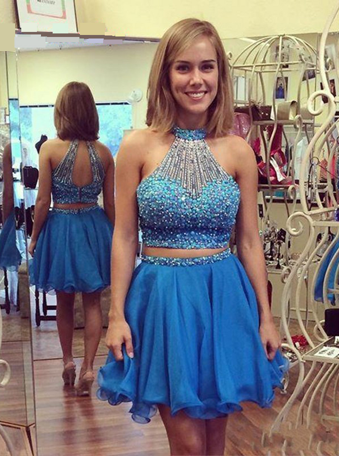 Exquisite Two Piece Key Hole Back Sleeveless Short Sky Blue Homecoming Dress with Pearl фото