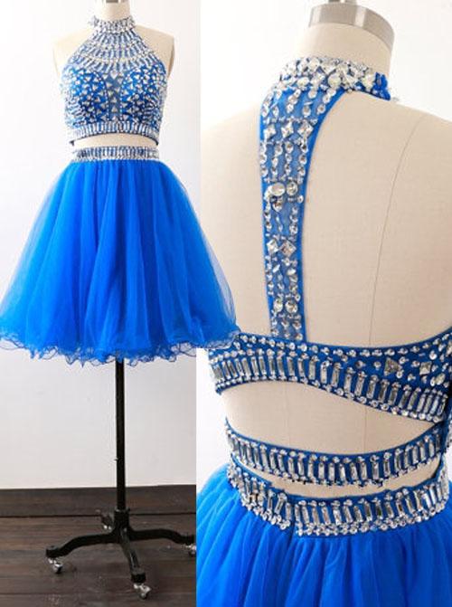 Stylish Two Piece Short Sleeveless Royal Blue Homecoming Dress with Beading фото