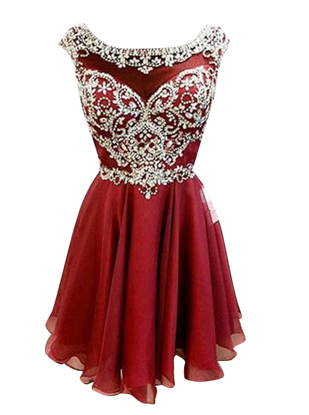 New Arrival Bateau Cap Sleeves Short Wine Homecoming Dress with Beading, Wine red
