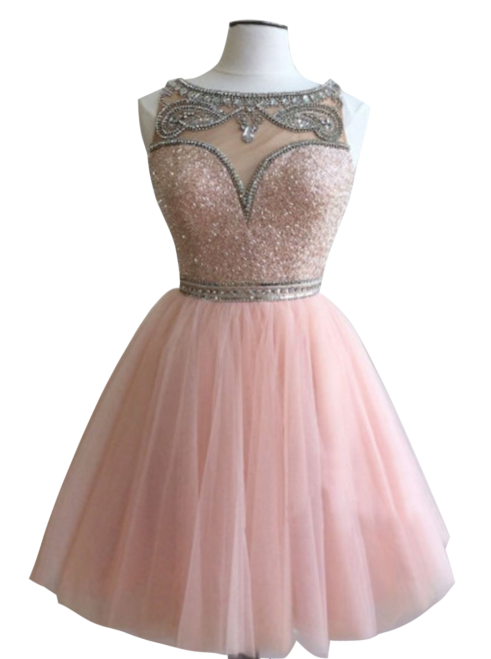 Sweet Bateau Sleeveless Short Pink Homecoming Dress with Beading Sequins фото