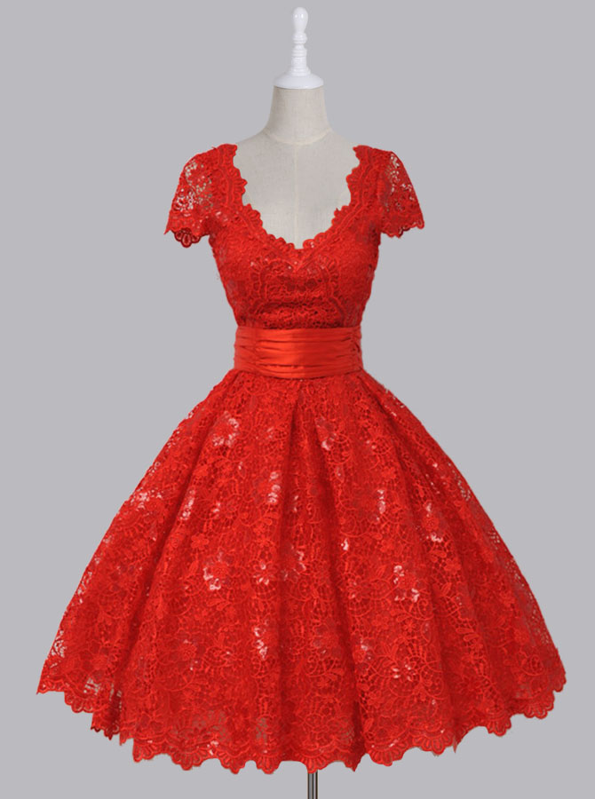 Vintage V-neck Cap Sleeves Knee-Length Backless Red Lace Homecoming Dress with Sequins фото