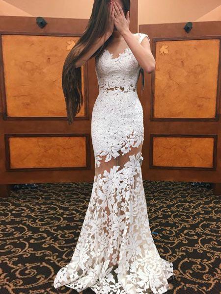 Sheath Bateau Cap Sleeves Sweep Train White Lace Prom Dress with Appliques фото