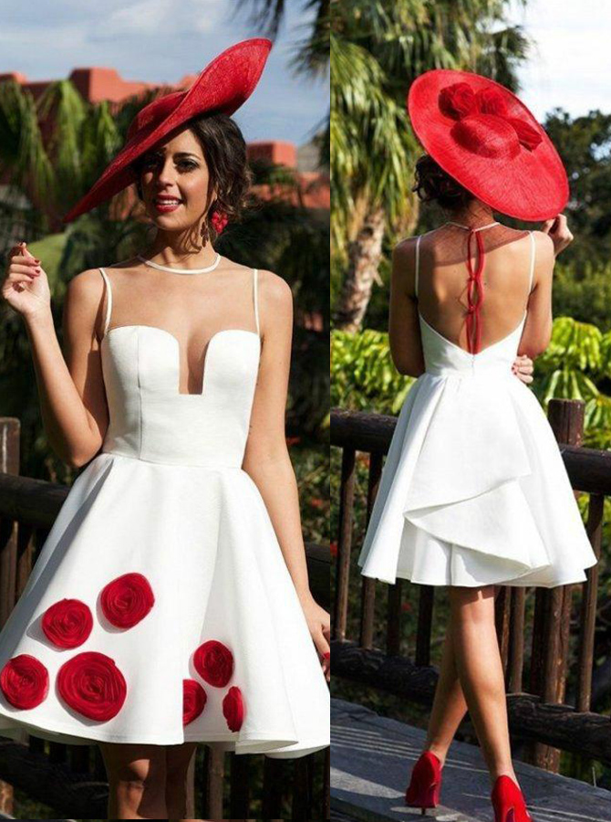 Sexy Illusion Back Short White Homecoming Dress with Ruffles Patchwork фото
