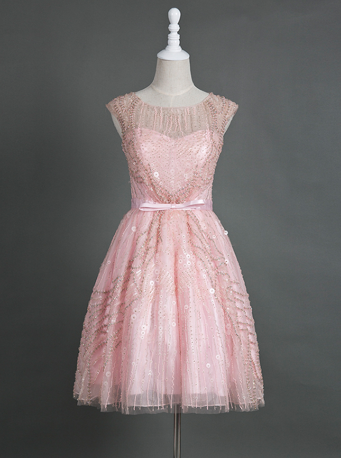 Elegant Bateau Cap Sleeves Knee-Length Pink Homecoming Dress with Beading