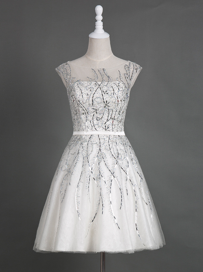 Simple Bateau Cap Sleeves Short White Homecoming Dress with Beading Sash