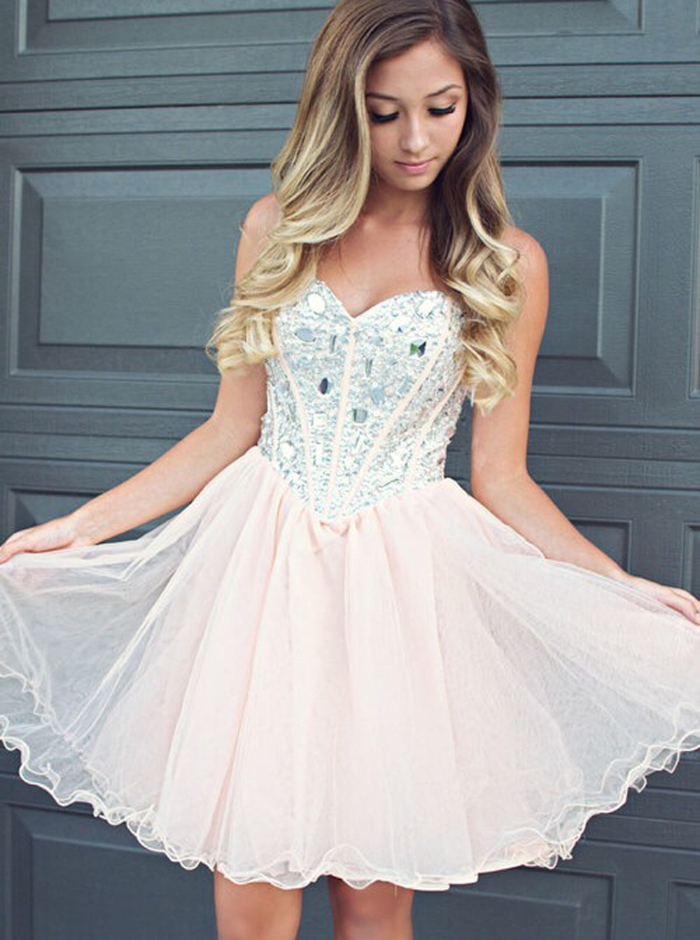 Fabulous Sweetheart Light Champagne Short Homecoming Dress with Beading фото