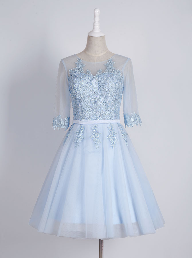 Generous Bateau Half Sleeves Short Homecoming Dress with Appliques Sash фото