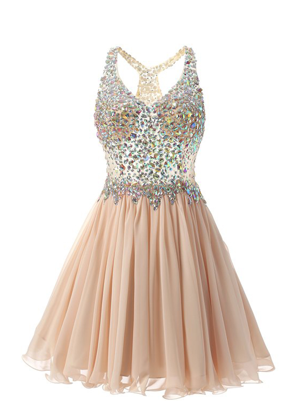 Stunning V-Neck Knee-Length Champagne Homecoming Dress with Beading фото
