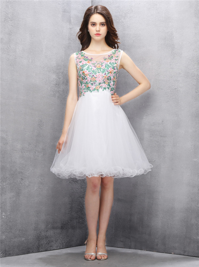 Fabulous Bateau Short White Homecoming Dress with Embroidery Sequined Illusion Back фото
