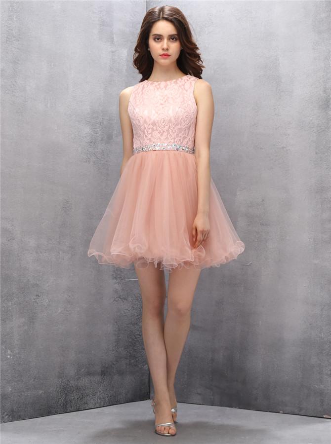 Glamorous Bateau Open Back Short Pink Homecoming Dress Beading Rhinestone Lace Top фото