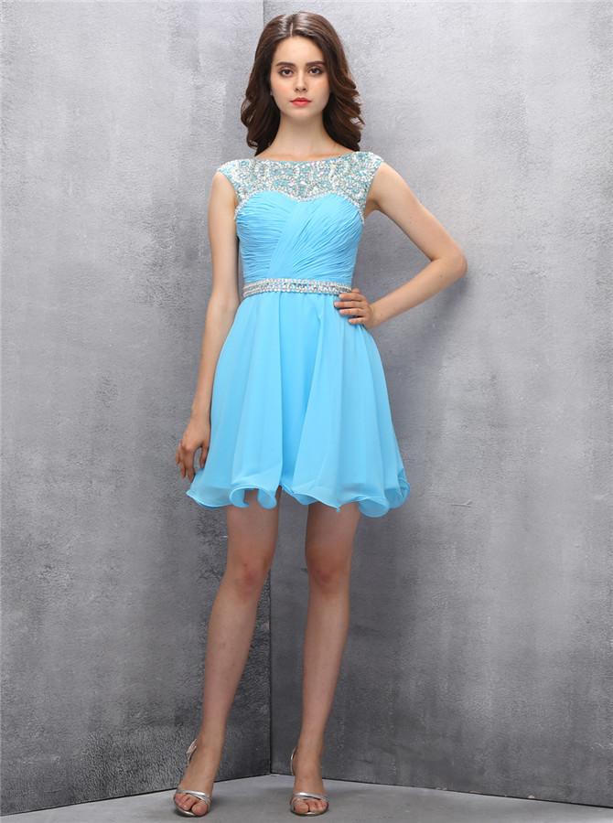 Stylish Bateau Short Beading Pearls Turquoise Homecoming Dress with Pleats Open Back фото