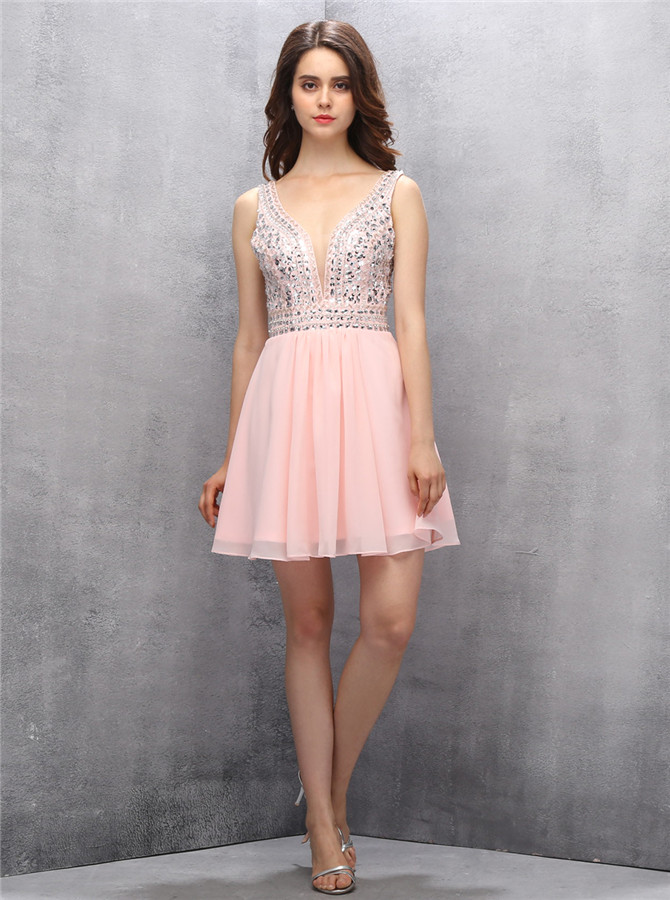 Sexy V-neck Short Open Back Pink Homecoming Dress with Beading