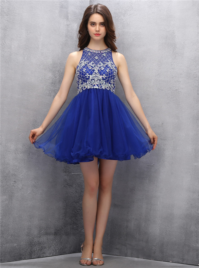 Exquisite Jewel Short Royal Blue Homecoming Dress with Beading Sequins фото