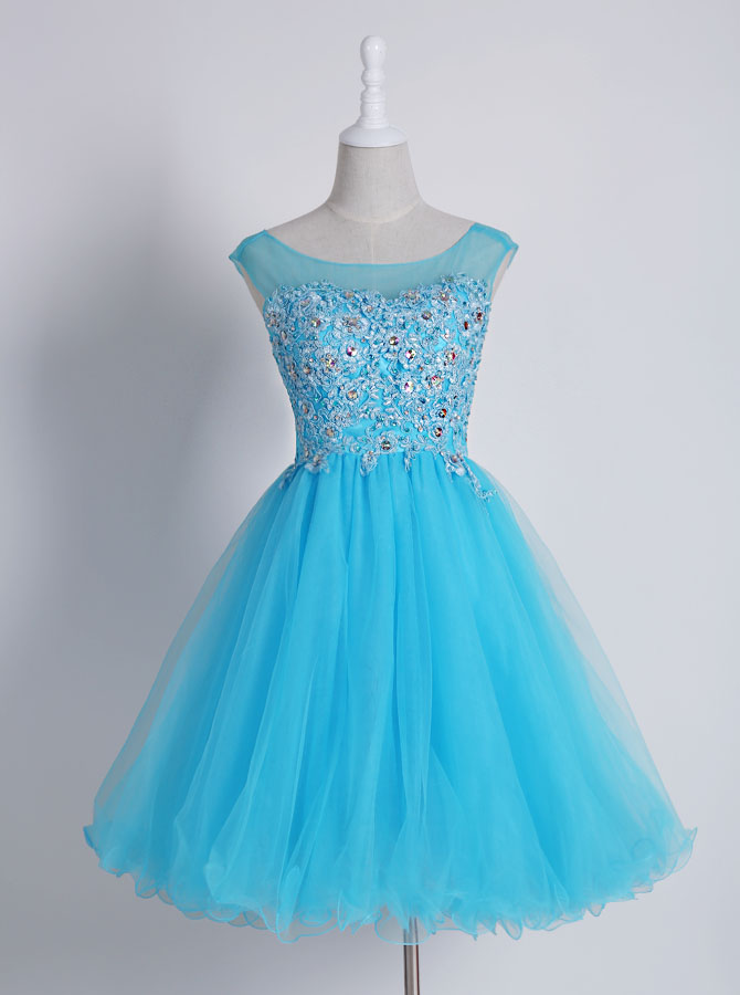 Delicate Bateau Sleeveless Short Homecoming Dress with Appliques Beading фото