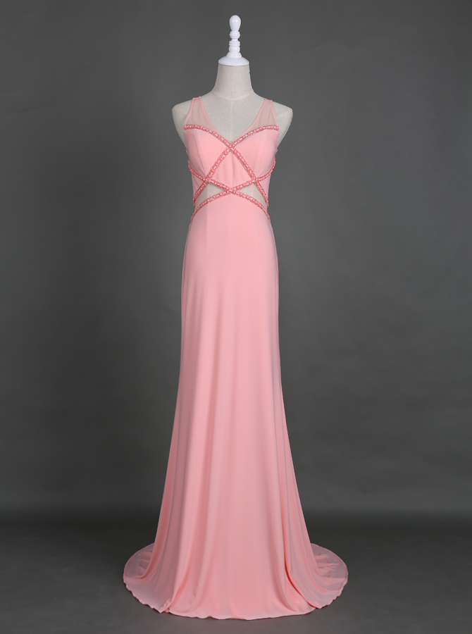Delicate V-neck Floor-Length Pearl Pink Homecoming Prom Dress with Beading фото