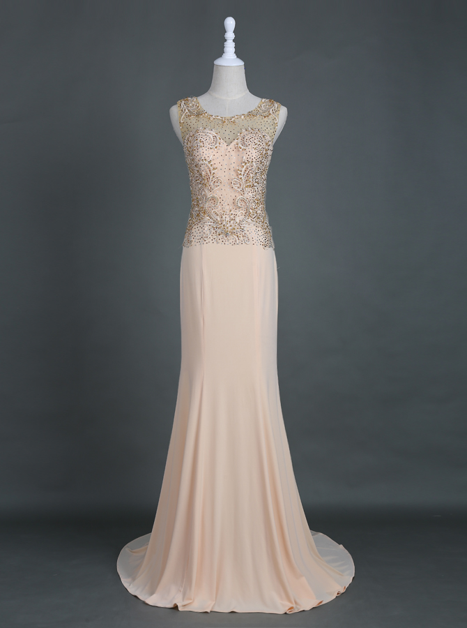Elegant Sweep Train Pink Sheath Homecoming Prom Dress with Appliques Beading фото