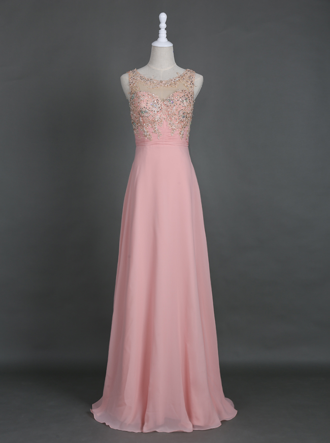 Glamorous Bateau Open Back Long Pearl Pink Homecoming Prom Dress with Appliques Beaded