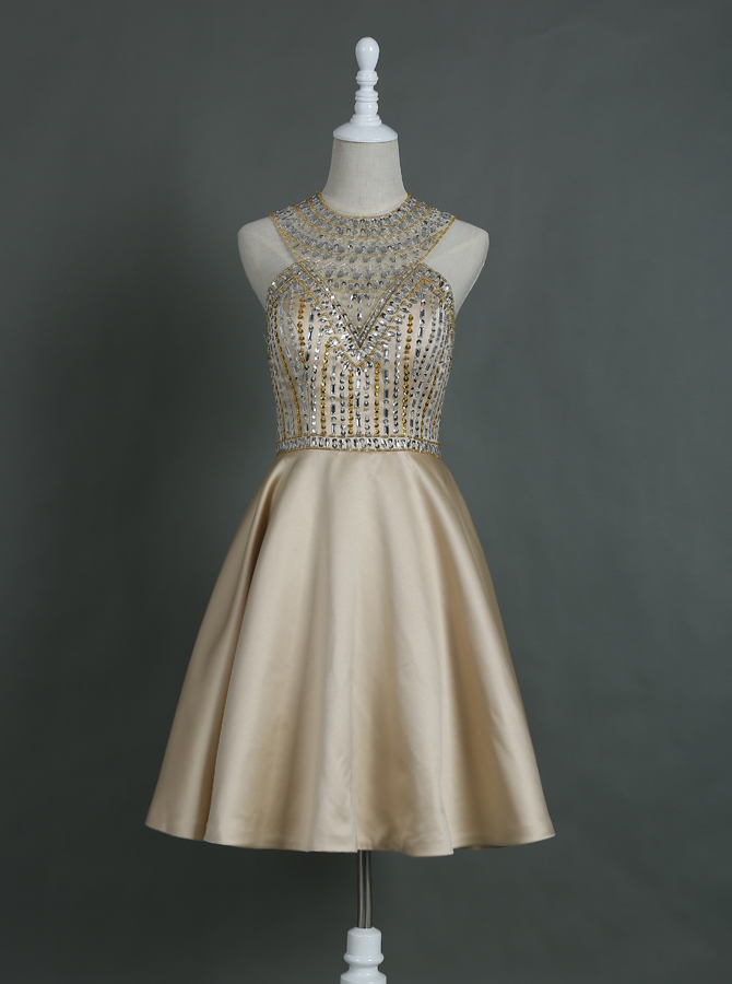 Brilliant Jewel Sleeveless Knee-Length Champagne Homecoming Dress with Rhinestones Open Back фото