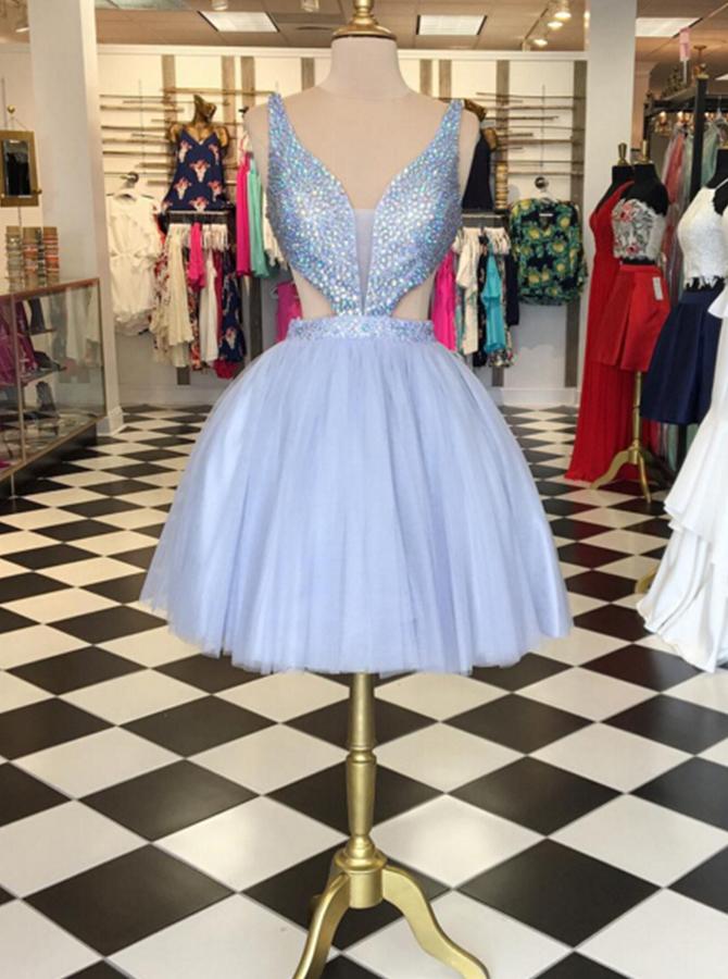 Dramatic V-neck Sleeveless Short Lavender Ball Gown Homecoming Dress Beaded фото