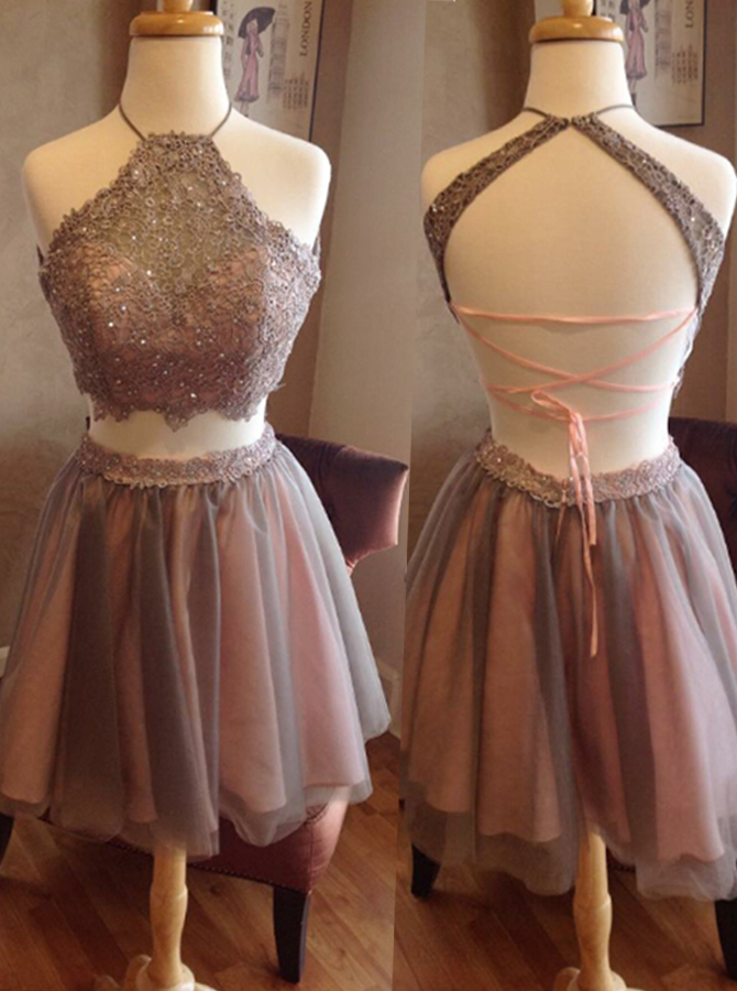 Fashion Two Piece Halter Short Grey Backless Homecoming Dress Beading Appliques фото