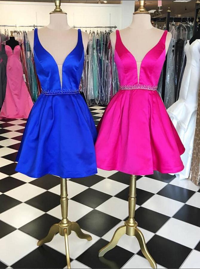 Simple V-neck Sleeveless Short Royal Blue Homecoming Dress Beading Waist фото