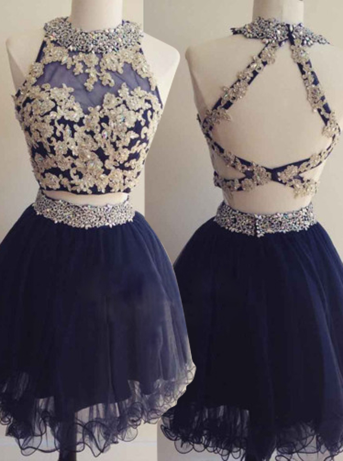 Hot Selling Two Piece Short Dark Blue Homecoming Dress Open Back Beading Appliques фото