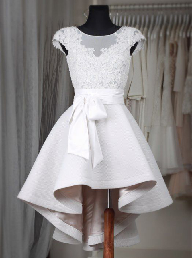 Glamorous Bateau Cap Sleeves Hi Lo White Homecoming Dress with Lace Sash фото