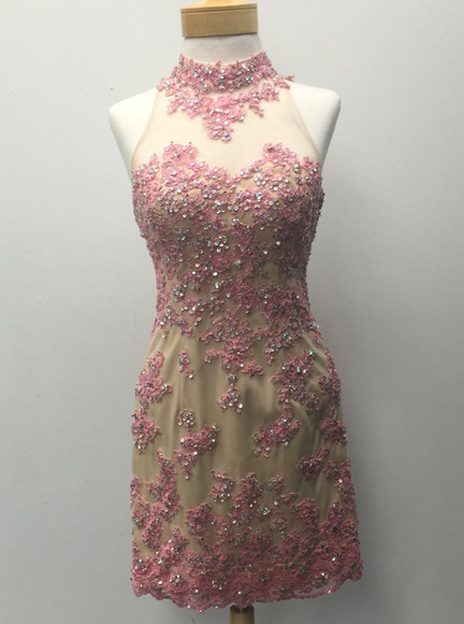 Stunning Halter Short Sheath Open Back Gold Homecoming Dress with Rose Appliques Beading фото