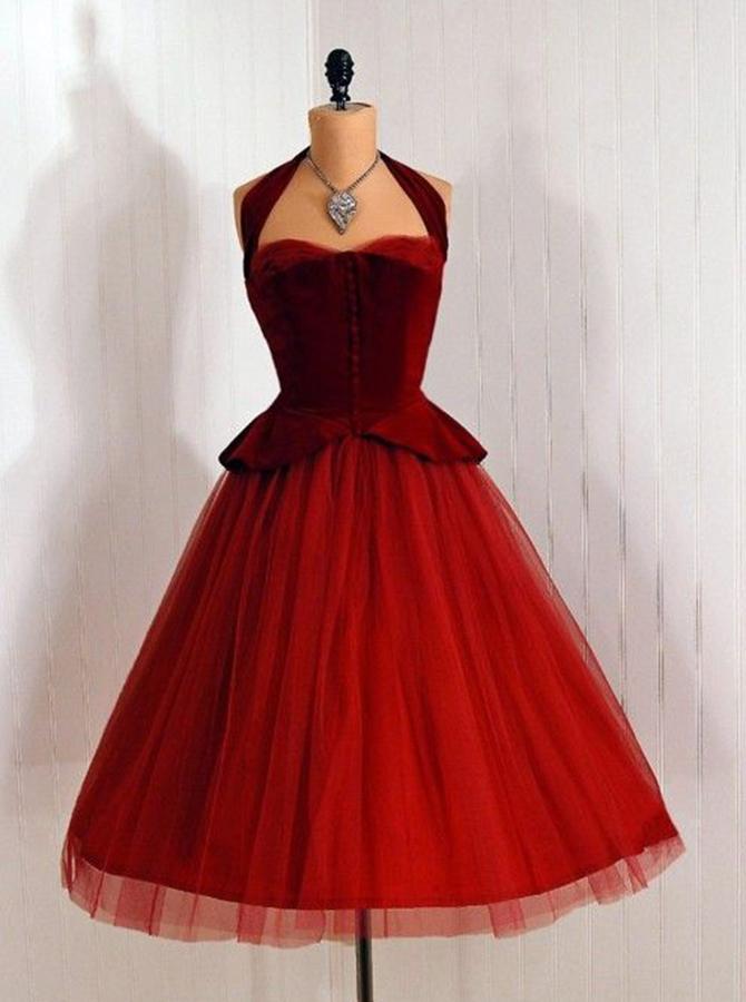 Vintage Halter Sleeveless Mid-Calf Burgundy Homecoming Dress фото
